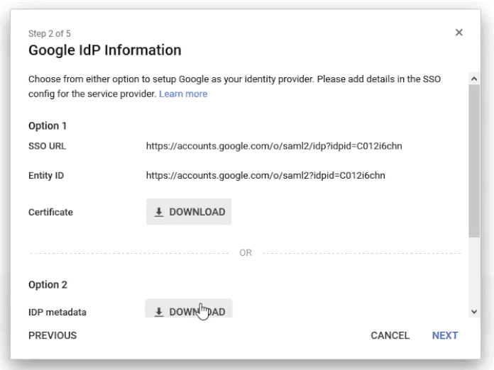 Downloading metadata from Google Apps