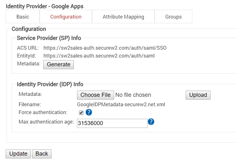 Connecting the Identity Provider with Google Apps