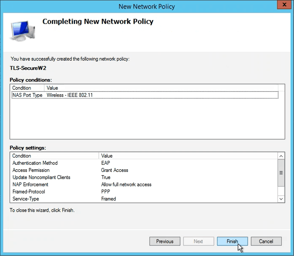 Configuring Network Policy for EAP-TLS