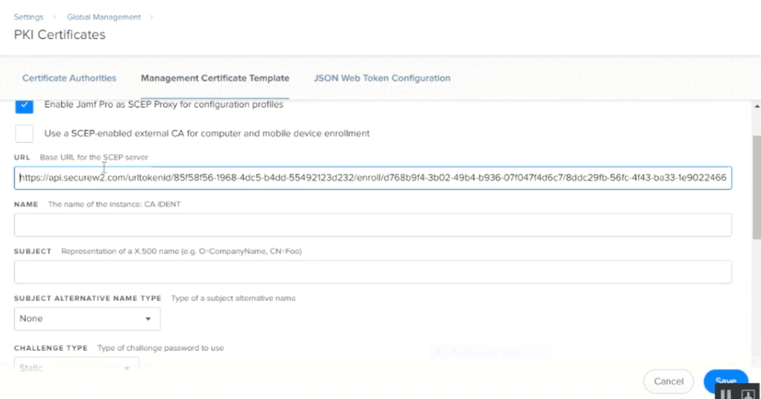 Configuring the settings for the PKI Certificate
