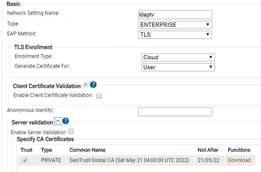 Enabling the RADIUS Certificate and connecting the differing servers