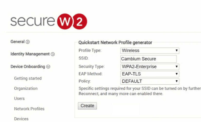 Creating a SecureW2 Network Profile with EAP-TLS authentication