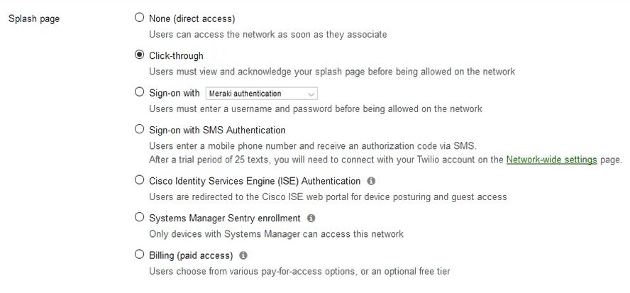 Make a Click through Splash page so the Onboarding SSID redirects to the SecureW2 Landing Page