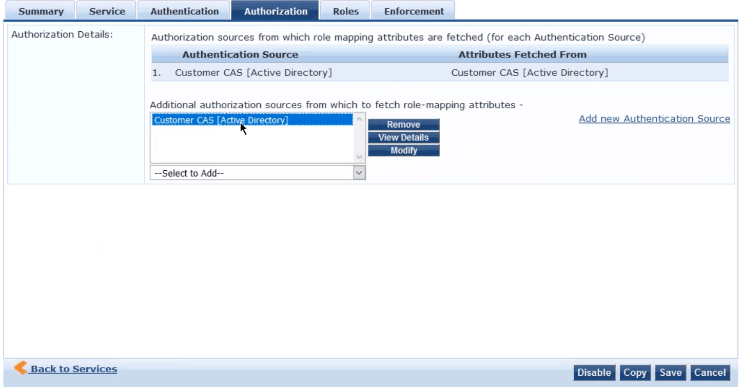 Configuring the CAS to authorize users