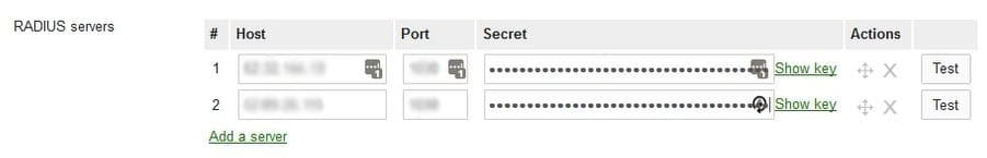Add a RADIUS server into Meraki for the SecureW2 Primary and Secondary IP address