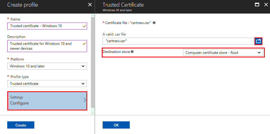 selecting the certificate store