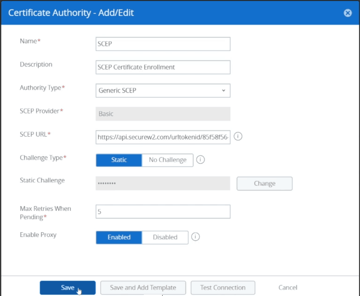 Creating the certificate authority that will store the certificate used