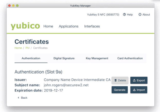 Details of the certificate downloaded by the user