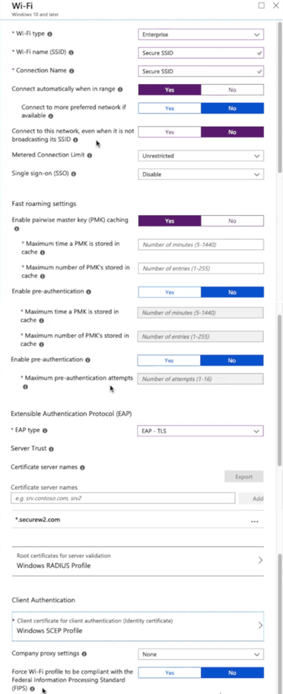 Configuring the wi-fi profile to upload to windows devices