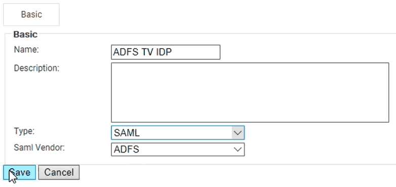 Configure the settings of the ADFS Identity Provider